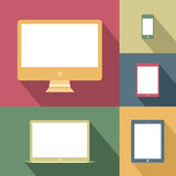 Mobile devices and screens in vintage style Stock Photography
