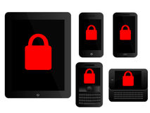Mobile Devices Secure Icons Black Royalty Free Stock Images