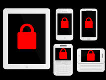 Mobile Devices Secure Icons White Stock Photos