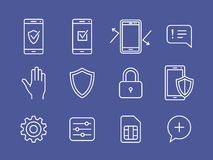 Mobile devices security icons Royalty Free Stock Photo