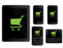 Mobile Devices Shopping Icons Black Stock Photography