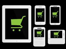 Mobile Devices Shopping Icons White Royalty Free Stock Photos