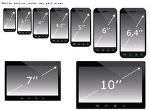 Mobile devices sizes  illustration set Stock Images
