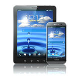 Mobile devices. Smartphone and tablet pc on white  backg Stock Photo