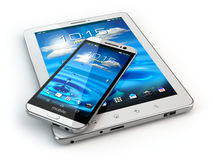 Mobile devices. Smartphone and tablet pc on white  backg Stock Photography