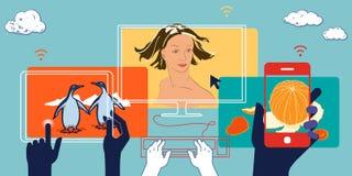 Mobile devices social media illustration. business concept vector illustration
