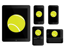 Mobile Devices Tennis Ball Black Royalty Free Stock Images