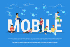 Mobile devices usage concept illustration Stock Photos