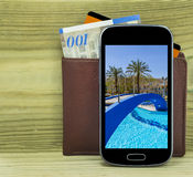 Mobile devise with wallet, money and credit card  i Royalty Free Stock Photography