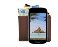 Mobile devise with wallet, money and credit card Stock Images