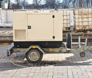Mobile Diesel Backup Generator with Fuel Tanks Outdoor. Stock Images