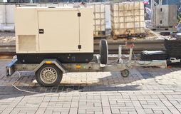 Mobile Diesel Backup Generator with Fuel Tanks Outdoor. Stock Photography