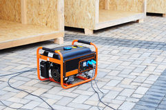 Mobile Diesel Generator on the Construction Site Background. New Mobile Diesel Generator on the Construction Site Background Stock Photo
