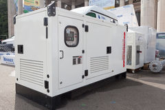 Mobile diesel generator for emergency electric power. Stock Image