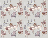 Mobile dinner1 color seamless. Outline  -a set of classic furniture and lamps for the dining room, seamless Royalty Free Stock Images