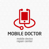 Mobile doctor logo template. Royalty Free Stock Images