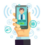 Mobile doctor, personalized medicine consultant on smartphone screen vector healthcare concept. Medical advice online, illustration of remote medical service Stock Photos