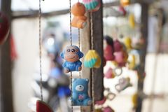 Mobile doll ฟืก Teddy Bear. A decoration made of small objects tied to wires or string and hung up Stock Photos