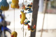 Mobile doll ฟืก Teddy Chicks. A decoration made of small objects tied to wires or string and hung up Royalty Free Stock Images