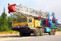 Mobile drilling rig royalty free stock images