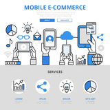Mobile e-commerce online shopping concept flat line art hero Royalty Free Stock Photography