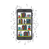 Mobile education line style illustration Royalty Free Stock Image