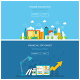 Mobile education, online training courses. Flat design modern vector illustration icons set of mobile education, online training courses, business analysis Stock Photo