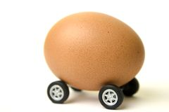 Mobile egg. Egg on wheels Stock Photo