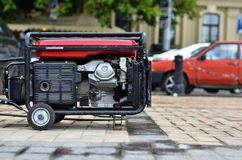Mobile electrical generator on street Royalty Free Stock Image