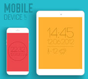 Mobile electronic devices on flat style concept Stock Photo