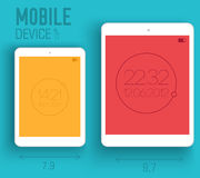 Mobile electronic devices on flat style concept Stock Image