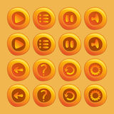 Mobile elements For Ui Game. A set of play, pause, sound, restart, menu buttons royalty free illustration