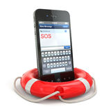 Mobile emergency service. Cellphone on white isolated background Royalty Free Stock Photos