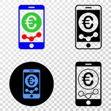 Mobile Euro Chart Vector EPS Icon with Contour Version. Mobile euro chart EPS vector pictograph with contour, black and colored versions. Illustration style is stock illustration