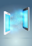 Mobile exchange - conceptual background Stock Photography