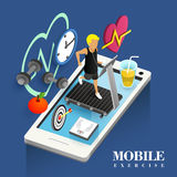 Mobile exercise concept Royalty Free Stock Images