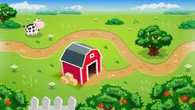 Mobile Farm Landscape With Red Barn Full Color Vector Design Eps 10 Royalty Free Stock Images