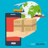 Mobile fast delivery concept Stock Images