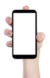 Mobile in a female hand isolated Royalty Free Stock Image