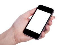 Mobile in a female hand Stock Photos