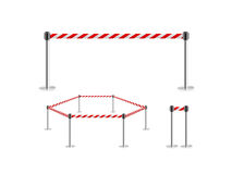 Mobile fence barrier red white belt stand isolated, 3d illustration. Royalty Free Stock Images