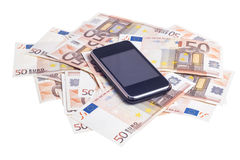 Mobile with fifty euro notes Royalty Free Stock Image