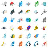 Mobile file icons set, isometric style. Mobile file icons set. Isometric style of 36 mobile file vector icons for web isolated on white background Royalty Free Stock Photos