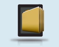Mobile files and folders. Digital  image of folders on mobile device with dark screen Royalty Free Stock Photography
