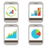 Mobile Finance Charts Icon. An image of a set of mobile finance charts Royalty Free Stock Image