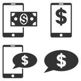 Mobile Financial Balance Vector Flat Icon Set Stock Photography