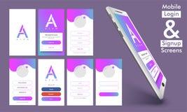 Mobile firmi dentro ed entri UI, progettazione di UX illustrazione di stock
