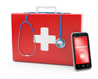 Mobile first-aid concept Stock Photography