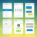 Mobile flat interface elements with colorful Royalty Free Stock Images