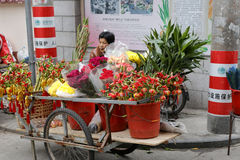 Mobile flower stand at the cat street Royalty Free Stock Images